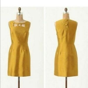 Anthropologie Maeve Chardonnay Dress Cut Out Gold